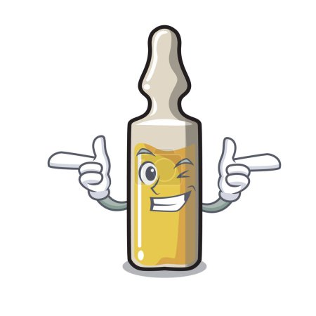 Wink ampoule character cartoon style vector illustration
