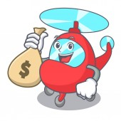 With money bag helicopter character cartoon style vector illustration