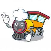 Chef train character cartoon style vector illustration