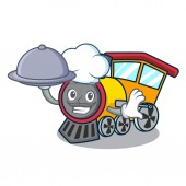 Chef with food train mascot cartoon style vector illustration