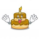 Crazy birthday cake mascot cartoon vector illustration