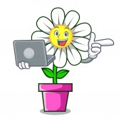 With laptop daisy flower character cartoon vector illustration