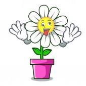 Crazy daisy flower mascot cartoon vector illustration