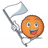 With flag cookies mascot cartoon style vector illustration
