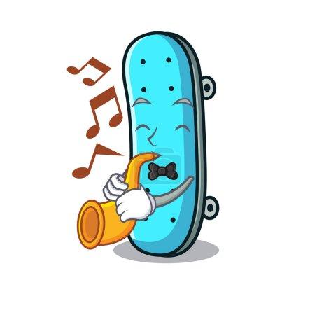 Illustration pour Avec trompette skateboard mascotte cartoon style illustration vectorielle - image libre de droit
