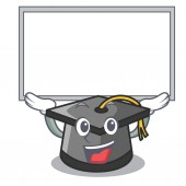Up board graduation hat character cartoon vector illustration