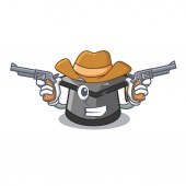 Cowboy graduation hat character cartoon vector illustration