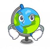 Smirking globe character cartoon style