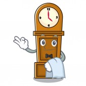 Waiter grandfather clock mascot cartoon