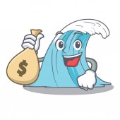 With money bag wave character cartoon style vector illustration