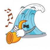 With trumpet cartoon blue wave surf vector illustration