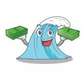 With money cartoon blue wave surf vector illustration