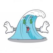 Money eye splash surf wave cartoon vector illustration