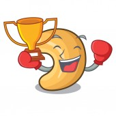 Boxing winner roasted cashew nuts isolated on mascot
