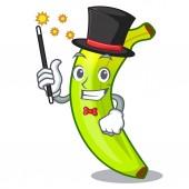 Magician fruit green bananas isolated on mascot