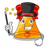 Magician golden christmas bell isolated on mascot vector illustration