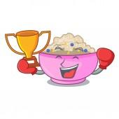 Boxing winner cooked whole porridge oats in cartoon pan vector illustration