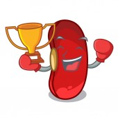 Boxing winner red beans pile isolated on mascot