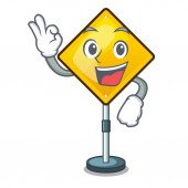 Okay warning attention sign shaped character exclamation vector illustration