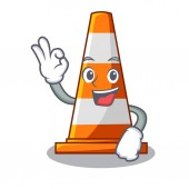 Okay traffic cone on Made in cartoon vector illustration