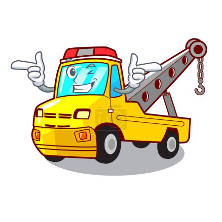 Wink truck tow the vehicle with mascot vector illustrartion