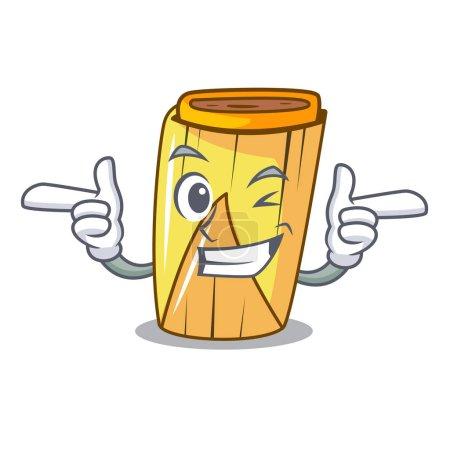 Wink corn tamales shape on the cartoon vector illustration