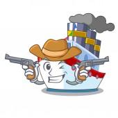 Cowboy ship in the transportation ocean mascot vector illustration