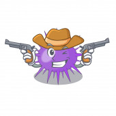 Cowboy sea urchin drawing engraving ink cartoon vector illustration