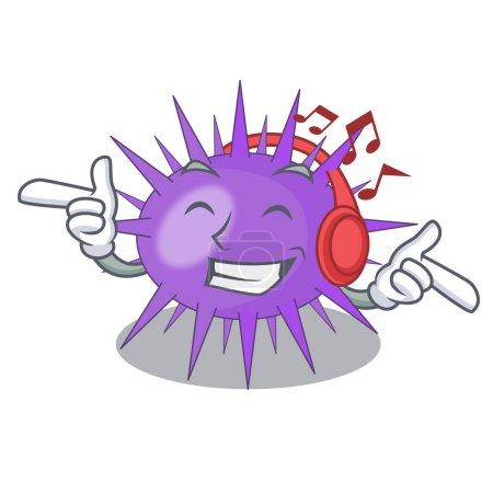 Illustration pour Paysage sous-marin, écoute musique en illustration vectorielle de mascotte oursin - image libre de droit