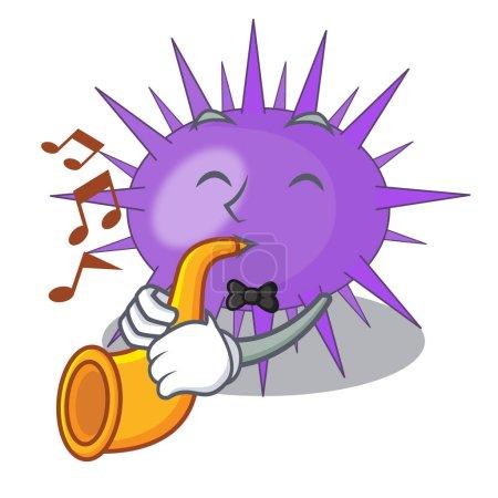 Illustration pour Avec le paysage sous-marin trompette sur illustration vectorielle de mascotte oursin - image libre de droit