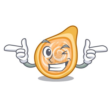 Wink snacks coxinha on a character plates vector illustrartion