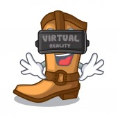 Virtual reality old cowboy boots in shape character vector illustration