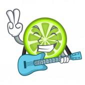 With guitar green lemon slices in character fridge vector illustration