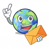 With envelope earth above the sky the mascot vector illustration