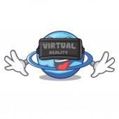 Virtual reality planet uranus in the cartoon form vector illustration