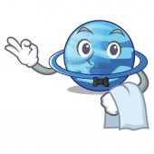 Waiter planet uranus in the cartoon form vector illustration
