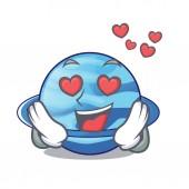 In love planet uranus in the cartoon form vector illustration