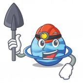 Miner planet uranus in the cartoon form vector illustration