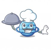 Chef with food planet uranus in the cartoon form vector illustration