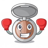 Boxing makeup powder in the character form vector illustration