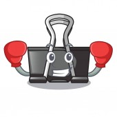 Boxing binder clip in the character shape vector illustration