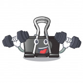 Fitness binder clip in the character shape vector illustration