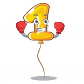 Boxing number one balloon in cartoon shape vector illustration