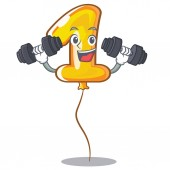 Fitness number one balloon in cartoon shape vector illustration