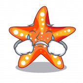 Crying starfish isolated with in the cartoons vector illustration