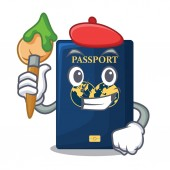 Artist blue passport in the cartoon form vcetor illustration