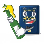 With beer blue passport isolated with the cartoonsillustration vector