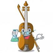 Professor violin in the shape cartoon wood vector illustration