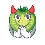 Devil green tomato slices in cartoon shape vector ...