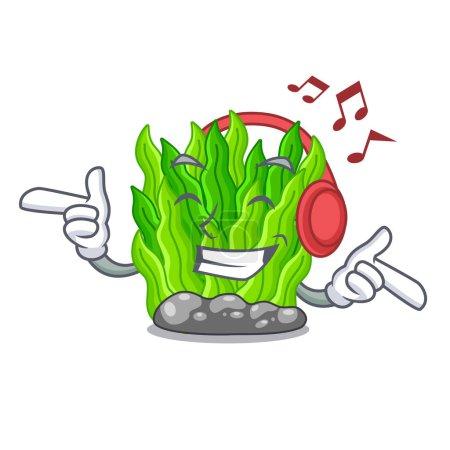 Illustration pour Écoute musique miniature verte algues plus haut de l'illustration vectorielle de mascotte table - image libre de droit